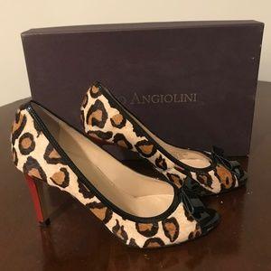 Enzo Angiolini Leopard Print Peep Toe Pumps